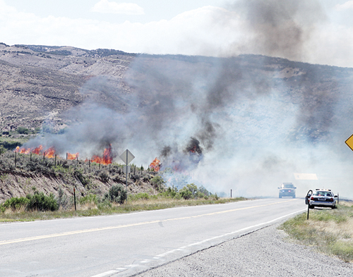 A fire possibly caused by a spark from a passing vehicle near mile marker 28 on Highway 64 near Rangely burned 2.7 acres. Rio Blanco County is currently under an open fire ban.