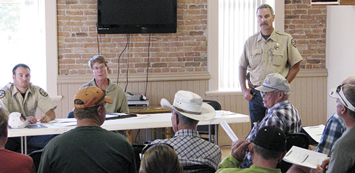 CWP area manager Bill de Vergie held a public meeting to discuss releasing water from Lake Avery into the White River to protect the fisheries.