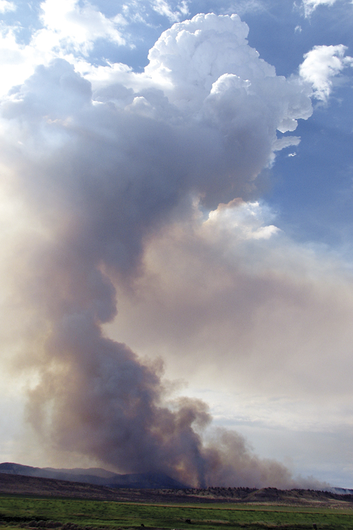 Smoke from the lightning-sparked Powell fire five miles northwest of Meeker could be seen from miles around. The fire has burned approximately 900 acres, including private and BLM land, part of which is on a Wilderness Study Area. The fire was 100 percent contained as of Tuesday.