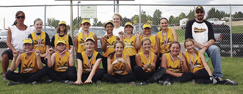 Meeker's 11-12 year old girls' softball team won the Valley Youth League championship last week by coming back through the loser's bracket and beat New Castle twice in a row to win the team title. Playing for the champions (bottom) are Kassie Luce, Michaela Jones, Jasmine Patterson, Taylor Dodds, Kristin Luce, Megan Shelton and Gracie Bradfield. (Back) Coach Janae Shelton, Kascia Cochran, Mikayla Cardile, Carissa Smith, Tori Lasker, coach Sammy Patterson, Savana May, Shelbi Blazon, Sierra Williams and coach Rick Dodds.