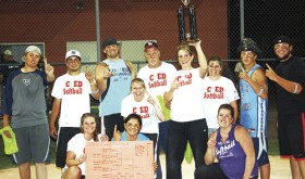 The Rangely True Value Hardware coed softball team had to win four games in a row Thursday last to defend its league title and they did, winning two games in the loser's bracket, then defeating Ace Trucking twice in a row to win the title. Playing on the Rangely team were (back row) Kacey Denny, Stephan Boleng, Keenan Harvey, Brielle Harvey, Billy Estes, Jessica Fortunato, Marta Estes, Kody Denny and Kendall Cushman, (front) Kelsey Norian James and Whitney Torsell.
