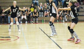 The BMS eighth-grade volleyball teams swept the Steamboat Springs Sailors last Saturday.