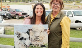 "Mary Francis Coryell and MCSCT director Maym Cunningham are pictured with the winning piece titled ""Taking Control"" by Debbie Hughbanks of Loon Lake, Wash., who was unable to attend. Visit www.meekersheepdog.com/artwork.htm for more information."
