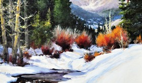"Cheryl St. James' ""Awaiting Spring"" won the plein air painting contest and is on display at the Meeker Hotel and Café."