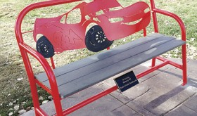 "Memorial benches and a walkway for Traker Dembowski were the outcome of Fruita artist Jeff Bates' work and efforts by a number of people in Rangely and Meeker. The benches represent Traker's favorite characters from the movie ""Cars."""