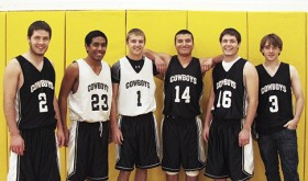 Meeker High School seniors Scott Smith, Tala Atoafa, Nate Walsh, Fernando Olivas, Alex Smith and Stefan Cochran, all with varsity experience, will lead the Cowboys boys' basketball team this season as the defending league champions. Senior Wyatt Rowlett is not pictured.