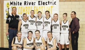 The Meeker High School girls varsity basketball team opened the 2012-2013 season with three wins and a team championship trophy in the 2012 White River Electric Cowboy Shootout tournament held last week in Meeker. The lady Cowboys defeated Nucla, Hayden and Rangely to win the preseason tourney. Playing on the championship team were (front) Taylor Neilson, Kaysyn Chintala (named tournament MVP), Kacey Collins and Deena Norell. Back, assistant coach Mike Dinwiddie, Bailey Atwood, Kelsey Kendall, Aly Ridings, Katie Dinwiddie, Sydney Hughes, Piper Haney and head coach Greg Chintala.