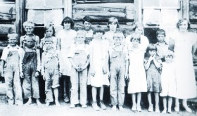 A 1934 photo of students at the Lime Kiln Hill School included (back row) Milton Sykes, Armettia Toembly, Muriel Sterry, Earl Sterry, Elsie Sykes, Dorothy Sykes, Rex Sterry and teacher Eleanor Service. (Front row) Dick Moyer, Howard Sterry, George Sterry, Walter Moyer, Louise Sterry, Leonard Sykes, Marilyn Sykes, Iris Sykes and Alma Mae Sykes. The photo is from the third volume of the This Is What I Remember series of books available for purchase at the White River Museum.