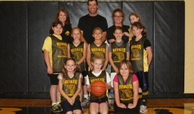 Front row Brynlee Williams, Hailey Knowles and Kelbe Collins. Middle Sierra Gomez, Sophia Goedert, Regan Mobley, Aspen Merrifield and Sarah Kracht. Back coach Patti Merrifield, coach Tom Knowles, coach Holly Knowles and team manager Addison Knowles. The Knowles' team went undefeated this season.