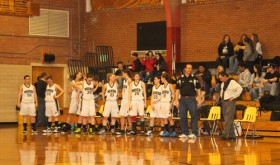 The Meeker girls' varsity basketball team lined up before the game against Paonia, who gave them their first loss of the season last Saturday. Meeker bounced back and defeated Rangely 51-24.