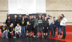 Members of the Meeker wrestling team are pictured after winning the Eagle Valley tournament last Saturday. The Cowboys placed eight of 11 varsity wrestlers, including two champions, three runners-up, two consolation champs, one fourth place finisher and one JV wrestler placed fourth. Meeker's T.J. Shelton was voted the outstanding wrestler in the upper weights and Tristin Pelloni remains undefeated this season. The Cowboys will wrestle in the Rangely Invitational this Saturday.