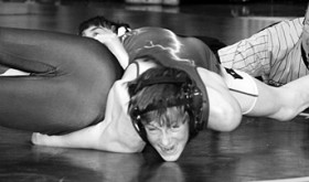 Panther Heath Peters pictured before pinning his opponent from Soroco last Saturday in Meeker. Peters won four of five matches he wrestled at 113.