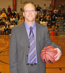 Klark Kindler has been the head basketball coach for the Meeker boys' basketball team for the past 15 years, was recognized last week before the final game of the regular season against Rangely for 199 career wins for the school and at the end of the game he had coached his 200th career win.
