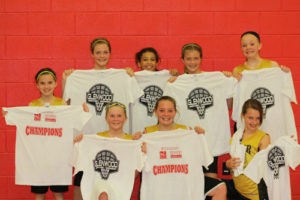 The Meeker sixth-grade girls' basketball team won the league championship last weekend in Glenwood Springs and are pictured with their championship T-shirts. The young Lady Cowboys used tough defense to beat teams from larger towns including Craig, Olathe, Montrose and Grand Junction in the championship game. Playing on the championship team (front) were Kenzie Turner, Megan Shelton and Lily Klinglesmith; (standing) Kirsten Brown, Kassie Luce, Tori Lasker, Krissie Luce and Ellie Anderson.