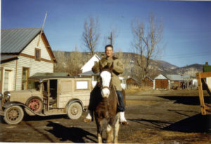 Roy Sizemore riding one of the horses from the Sizemore Resort. Roy would later run the resort with his father Oscar.