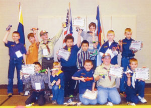 Meeker Cub Scout Troop 190 held its Pinewood Derby auto races on March 21. The finalists in the championship race were Ridge Williams, Rowdy Rosendahl and Chris Harris. Williams held off his opponents to win the championship.