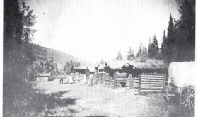 This Marvine Lodge picture was taken in the late 1890s or early 1900s. People on the left are believed to be Bill Green, his wife, Cora, and their daughter, Isabelle. Bill Green was the cowboy, tourist guide and caretaker for the lodge.