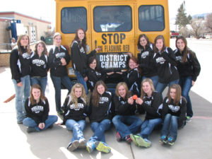 The Meeker girls basketball team ended its season as district champions and regional runner-ups. Pictured before leaving for the regional tournament are (back) manager Tristan Nielsen, Kaysyn Chintala, manager Leah Pool, Amanda Kendall, Kacey Collins, Sydney Hughes, Bailey Atwood, Piper Haney and Katie Dinwiddie. (Front) Shelby Burke, Megan Parker, Aly Ridings, Deena Norell, Taylor Neilson and Jamie McLaughlin. The Lady Cowboys finished with a 21-3 record.