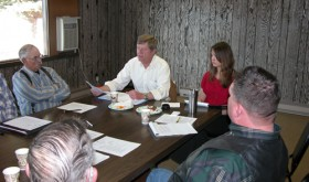 U.S. Rep. Scott Tipton was in Meeker on March 28 to meet with members of the White River and Douglas Creek conservation districts at the Upper Colorado Environmental Plant Center regarding environmental issues. Tipton met later with the Rio Blanco County commissioners on regional issues pertinent to the county. Pictured above, from left, are: White River Soil Conservation District board member Bill Lake, U.S. Rep. Scott Tipton, Tipton staff member Christian Reece of Grand Junction and Rio Blanco County Commissioner Jeff Eskelson.