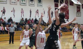 Rangely senior Brittany Babineaux takes a shot in a game against the Hotchkiss Bulldogs. Babineaux scored 10 points in a losing effort last weekend in the District 5 tournament. The Lady Panthers will play Wray in the first round of the regional tournament to be held at Mullen High School in Denver this Friday with the tipoff scheduled for 6:30 p.m.