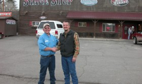 Dave Satterwhite, left, and Jason Steiner shook hands on Monday to close the deal on the sale of Stage Stop Meat Market & Deli in Meeker. Steiner opened Stage Stop in 2006, and he sold the operation to the Dave Satterwhite family of Craig.