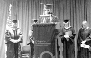 Jolene Holzfaster gave the Invocation at the Colorado Northwestern Community College commencement ceremony on Saturday at the college's main campus in Rangely. The Colorado Room was filled to capacity for the event, which featured the commencement keynote address by the Honorable Jean White, a member of the Colorado State Board for Community Colleges and Occupational Health.