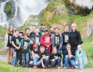 Sixteen fifth-grade students from Parkview Elementary School in Rangely earned a patrol program trip to Rifle Falls and the fish hatchery on May 10. Each week, students were evaluated on homework, classwork, participation and behavior to earn patrol duty, while students who made the patrol list the majority of weeks during the semester earned the trip. In the back row are: XXXX Sheppard, Tytus Coombs, Zoey Peck, Leighton Pedlar, Mark Mercado, Hunter Hanvey, Del Garner, Lisa Hanna, Jorge Carrasco, Jayleen Kenney, Angela Gonzalez, Dalton Dembowski and Barbara Combes. Kneeling are: Justin Rusher, Dylan LeBleu, Tiffany Holmes, Cia Buxton and Dillya Wagner.