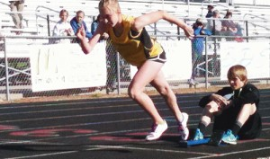 Barone Middle School eighth-grader Peyton Burke coming out of the blocks in the Glenwood Springs meet, was a member of four school record-breaking relay teams this season.