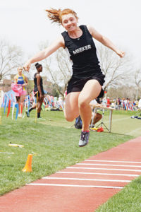 Meeker sophomore Sydney Hughes' final triple jump was her best by a foot and landed her on the podium in seventh place.