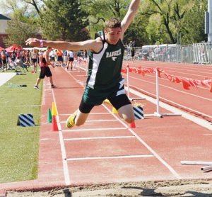 Rangely junior Andrew Morton, pictured in the triple jump, above, was the only Panther to qualify in four events. Morton will represent his town and school in the triple, long and high jumps as well as the 110-meter hurdles.