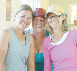Meredith Deming, Mandi Etheridge and Mona Maser made up the only adult team in the annual Road Rash Triathlon, which started and ended in Paintbrush Park.