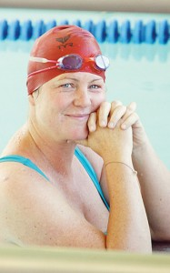 Meeker Mayor Mandi Etheridge completed the swimming leg for the only adult team in the competition.