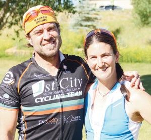 (Above) David Cropp was the winner of the annual Road Rash Triathlon, sponsored by the ERBM Recreation and Parks District, and his lady friend, Molly Meehan, won her age division in the Super-Sprint Triathlon.