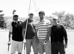 "Jason Kurrasch (second from right), golfing with Tyson Dana, James Danner and Ronny Hegemann said, ""We're just out supporting the community, the Elks and enjoying the day."" Kurrasch's team lost a two-hole playoff to finished with the second best net score."