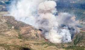An aerial view of the East Tschuddi fire in Rio Blanco County.