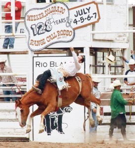 Livestock were jumping out of the chutes during the 128th annual Range Call Celebration at the Rio Blanco County Fairgrounds.