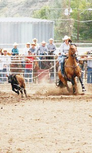 Meeker's Cynda Norell placed second in the calf break-away roping during the oldest continuous rodeo in the state, the 128th annual Range Call Rodeo.