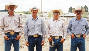 Buddy Pakuer, Ryan Vroman, Coley Turner and Lenny Klinglesmith penned a yearling, roped and branded a calf, caught and milked a cow, and roped a steer, tying three of its legs together, all in 3:44 to win the annual Ranch Rodeo.