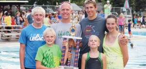For a sixth straight year, the Rangely Hurricane Swim team has won the Colorado Seasonal Club State Championship meet and also claim the state's best 15-18 club swimmer. Swimming for the Hurricanes in Canon City were Timothy and Mary Scoggins in front, Timothy and William Scoggins, Andrew Morton and Korrynn Wenzel. Morton was the high point winner in the 15-18 division.