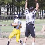 Meeker junior Tristin Pelloni caught two touchdown passes from quarterback Jake Phelan and intercepted one on defense against the Central Warriors in Grand Junction.