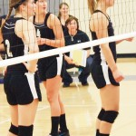The Meeker volleyball team is led by its three seniors, Taylor Neilson (right), Piper Haney (middle), and Aly Ridings (left), helping the team win two matches over the weekend.