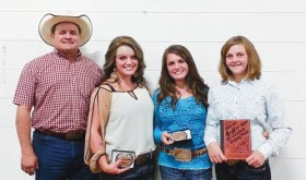 The All-State 4-H Livestock Judging Team, chosen at the Colorado State Fair in Pueblo, comes from Rio Blanco County. From left are: 4-H volunteer and coach Clint Shults and judging team members Maclaine Shults and Madi Shults of Meeker and Samantha Lapp of Rangely.