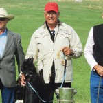 The top three finishers at the 2013 Meeker Classic Sheepdog Championship Trials were: (from left) Ron Enzeroth of Dublin, Texas, in third place; winner Dennis Gellings of Dawson Creek, British Columbia, Canada; and second-place winner Scott Glen of New Dayton, Alberta, Canada.
