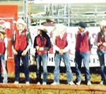 Colorado Northwestern Community College rodeo coach Jed Moore introduced his team to the applause of an overflowing grandstands at Columbine Park during the fourth annual Rock'N'Bull'N'Barrels event Saturday. CNCC has 22 out for the rodeo program, many among the top competitors in the nation and several returning members who participated in the College National Finals Rodeo.