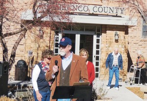 Joe Dungan of Meeker, the veterans' service officer for the Veterans of Foreign Wars in Meeker, spoke to roughly 150 people late Monday morning during the VFW's Veterans Day service next to the Rio Blanco County Veteran's Memorial in front of the county courthouse. Dungan thanked all veterans, past and current, and made special mention of those who did not return home due to their still being prisoners of war, those who may have died as POWs and those missing in action.