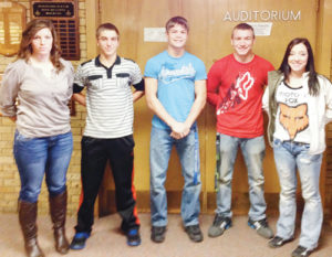 Six members of the Meeker High School Class of 2014 have already committed to enter the military following spring graduation. From left to right are Jordan Smith, Kelly Denny, JC Henderson, Kenny Kohls and Emilee Kohls. Torrie Gerloff is not pictured.
