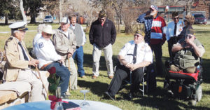 Prior to Monday's late-morning service honoring Veterans Day, a number of local veterans gathered around the Rio Blanco County Veterans Memorial on the lawn of the county courthouse in Meeker. The group represents many years of service to the United States military. The VFW-sponsored event honored military veterans from past and current times and those who never returned home due to being possible prisoners of war or those who went missing in action.