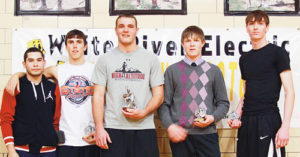 Enterline, far right and Meeker's Raul Lopez (far left) and Jeremy Musgrave, along with Ryan Jeep (named MVP) of Soroco, Tanner Jensen of Little Snake River and Bear Carlson (not pictured) were named to the All-Tournament team.