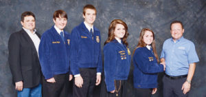 From left are Clint Shults (the group's FFA livestock judging coach) and the Meeker livestock judging team of Sam Baylie, Ty Dunham, Maclaine Shults, Madi Shults and the representative of the national livestock judging event sponsor, Culvers.