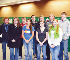 Ten athletes at Rangely High School were named to the first team all-state academic team and one to the honorable mention all-state team last week by the Colorado High School Activities Association (CHSAA). In the front row, from the left, are: McKale Pennell (first team, football); Tessa Slagle (first team, cross-country), Aimee Hogan (first team, volleyball); and Chelsea Ficken (first team, volleyball. In the back row are, from left, are: Tanner Nielsen (first team, cross country); Ethan Allred (first team, football); Colt Allred (first team, football); Layne Mecham (honorable mention, football); Mitchell Webber (first team, cross country); and Cameron Enterline (first team, football). Not pictured is Simone Heinle (first team, volleyball).